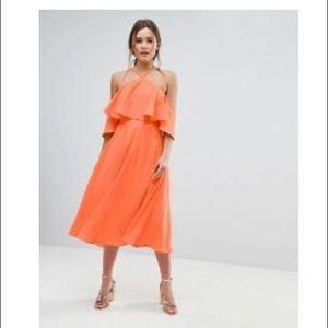 ASOS cold-shoulder orange dress